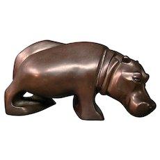 Carole Shultz modernist ceramic hippo hippopotamus sculpture signed