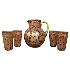 Moser cranberry platinum gold enameled art glass water set pitcher glasses