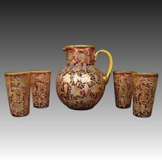 Moser cranberry platinum gold enameled art glass water set pitcher glasses