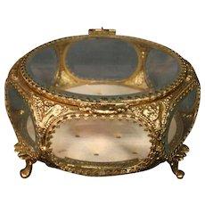 Gilded ormolu beveled glass six sided jewelry dresser box