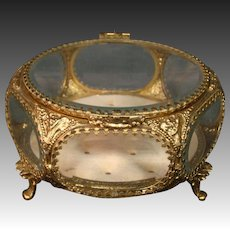 Gilded ormolu beveled glass six sided jewelry dresser box
