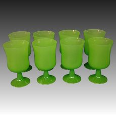 Chartreuse green opaline set of eight art glass water goblets
