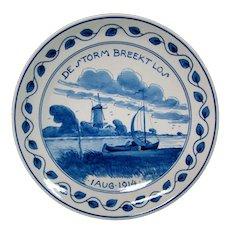 Delft 1914 plate De Storm Breekt Lo