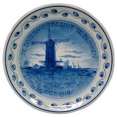 Delft plate 1918 De Dageraad Begint Te Blinken