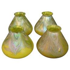 Loetz Bohemian art glass set of four art glass lamp shades