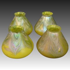 Loetz Bohemian art glass set of four art glass lamp shades