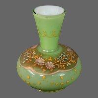 Moser art glass miniature enameled floral green gold vase