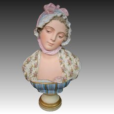 French porcelain bisque bust of girl woman artist signed G Levy