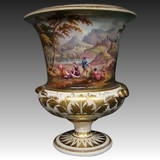 Antique Royal Crown Derby hand painted scenic vase urn late 1700's