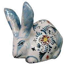 Delft pottery signed rabbit figure figurine adorable