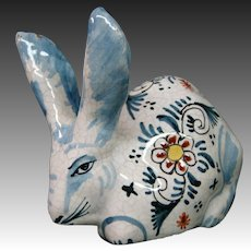 Delft pottery signed rabbit figure figurine adorable