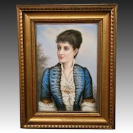 Antique German hand painted porcelain portrait plaque Italian opera singer Adelina Patti