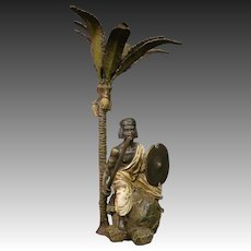 Bergman signed bronze sculpture Arabic man under palm tree