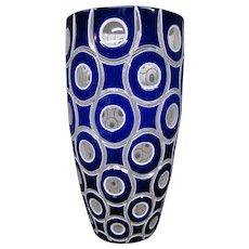 Bohemian triple overlay modernist art glass vase