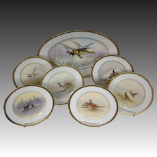 Limoges hand painted game set plates plates birds deer Charles Ahrenfeldt artist signed