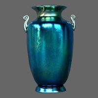 Steuben blue aurene stunning handled art glass vase urn form 6630 signed