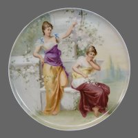 Austrian hand painted plaque charger women gathering flowers artist signed Sellers