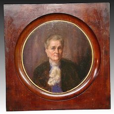 Antique 1800's portrait oil painting woman in purple violet blouse