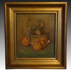 Antique still life oil painting pomegranates artichokes artist signed