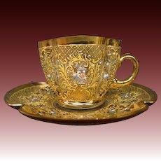 Moser art glass quatrefoil gilded floral enameled cup saucer antique signed