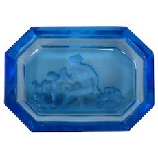 Czech  Czechoslovakia blue intaglio cut salt dip seated woman cupid