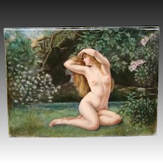Antique large hand painted porcelain plaque nude woman artist signed dated 1905