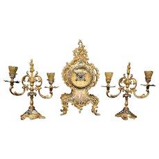 Tiffany & Co New York French champleve enamel gilded bronze cupid clock set candlesticks
