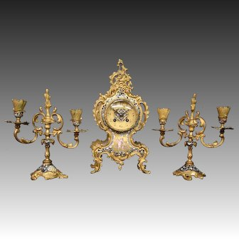 Tiffany & Co New York French champleve enamel gilded bronze cupid clock set candlesticks