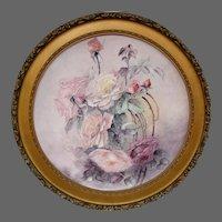 Huge framed T&V Limoges France hand painted roses charger
