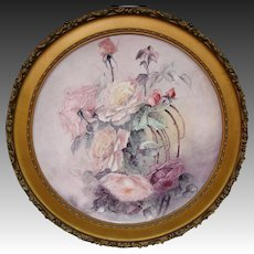 Huge framed T&V Limoges France hand painted roses charger