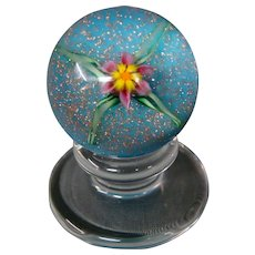 Charles Kaziun Jr miniature spider lily pedestal art glass paperweight signed