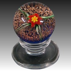 Charles Kaziun Jr miniature spider lily pedestal art glass paperweight signed