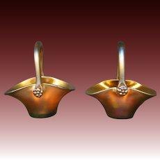 Steuben gold aurene miniature art glass baskets shape 453