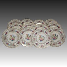 Royal Bayreuth floral orchid roses set 12 service chargers dinner plates