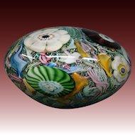 Huge Murano Italian art glass millefiori paperweight