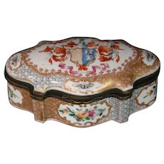 German porcelain trinket or jewelry box armorial flowers butterflies
