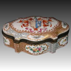 German porcelain trinket or jewelry box armorial flowers butterflies