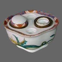 German porcelain dragon phoenix bird double inkwell marked