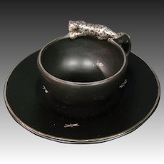 Emilia Castillo pottery silver overlay jaguar leopard fireflies cups saucers