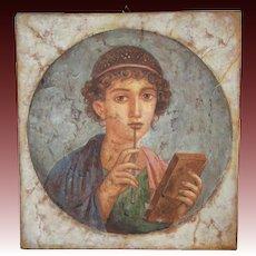 Classic figure portrait oil painting on board fresco style