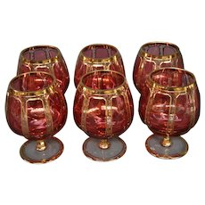 Moser art glass cranberry cabochon panel brandy set of six goblets glasses