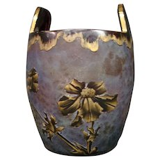 Val St Lambert cameo glass floral ice bucket rare form signed