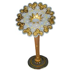 Moser antique art glass gilded enameled floral opaline jack in the pulpit vase