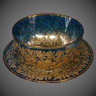 Moser cobalt blue gilded enamel art glass fingerbowl and underplate 1800's