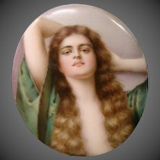 Hutschenreuther porcelain woman portrait plaque artist signed Wagner After Asti