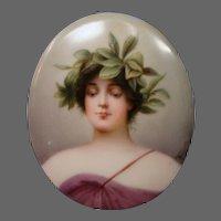 Hutschenreuther porcelain woman portrait plaque artist signed Wagner