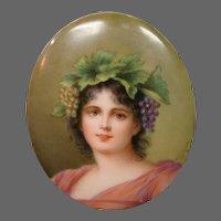German porcelain woman portrait plaque artist signed Wagner titled Hebe