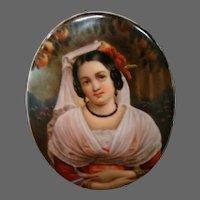 German porcelain portrait plaque woman with orange tree