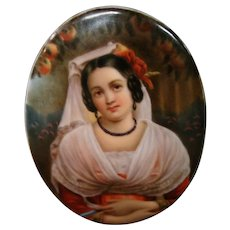 German porcelain portrait plaque woman with orange tree