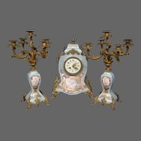 Sevres French porcelain bronze mounted antique mantle clock set woman cupids artist signed candelabras